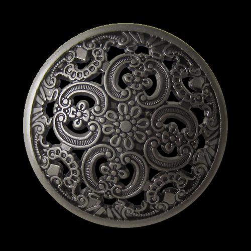 Altsilberfarbene Metallknöpfe mit Durchbruchmuster