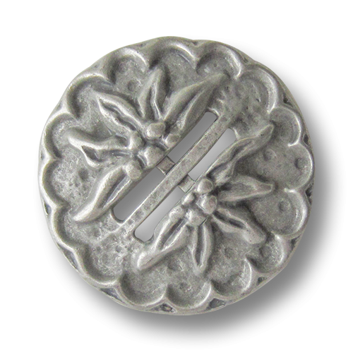 www.knopfparadies.de - 0551as - Altsilberfarbene Trachtenknöpfe aus Metall mit Edelweiß