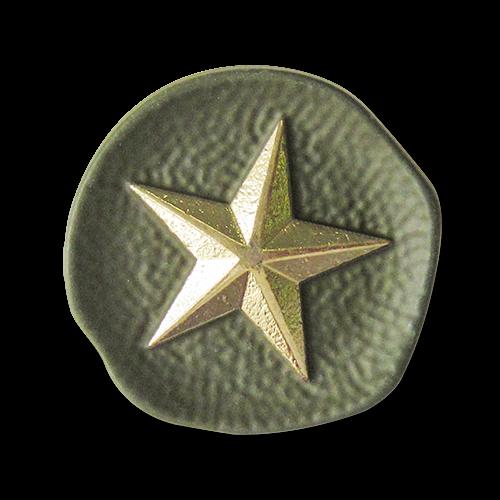 www.Knopfparadies.de - 2732gg - Tolle Motivknöpfe aus Metall mit Stern in Grün / Gold
