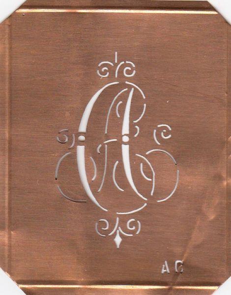 Schablone Kupfer Monogramm AC