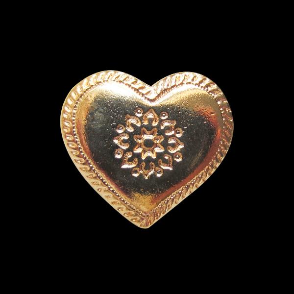 Hübscher goldfarbener Metall Knopf in Herzform