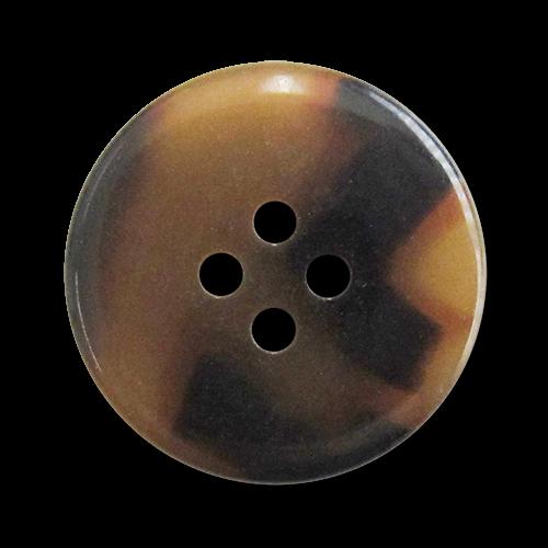 www.Knopfparadies.de - 3283br - Melierte Vierlochknöpfe aus Kunststoff mit Schildpattmuster in Braun