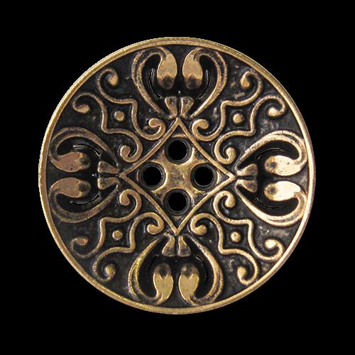 www.knopfparadies.de - 3834ag - Nostalgisch gemusterte Vierloch Metallknöpfe in Altgold