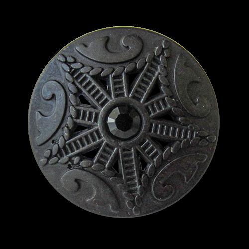 www.knopfparadies.de - 5662sc - Metallknöpfe, schwarz mit Glitzerstein