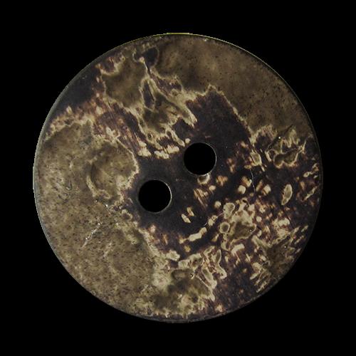 www.Knopfparadies.de - 5859db - Braun beige Kunststoffknöpfe in Horn oder Kokosnuss Optik