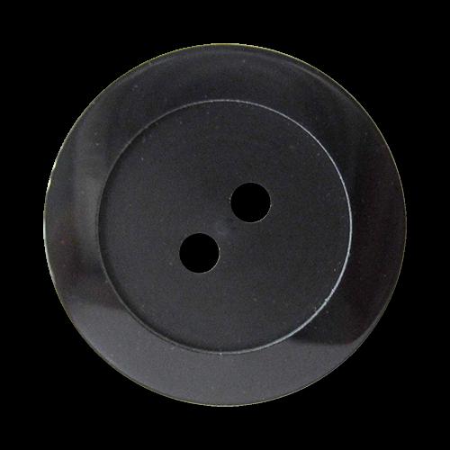 www.Knopfparadies.de - 4417sc - Elegante schwarze Zweiloch Kunststoffknöpfe mit breitem Rand