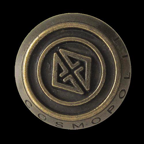 www.Knopfparadies.de - 3092am - Edle Metallknöpfe in Altmessing mit Logo und Schriftzug Cosmopolit