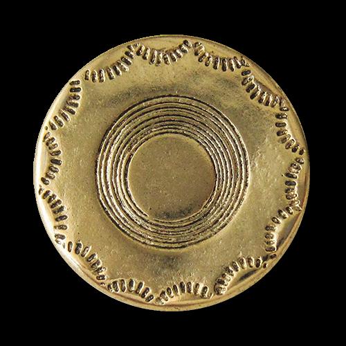 www.Knopfparadies.de - 2514ag - Älter wirkende altgoldfarbene Metallknöpfe mit schlichtem Muster