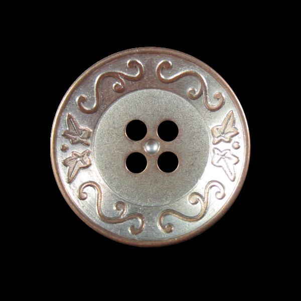 Edler Vierloch Metallknopf m. Blättern & Ziergirlanden