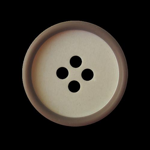 Naturfarbener Vierloch Knopf aus Kunststoff mit braunem Rand