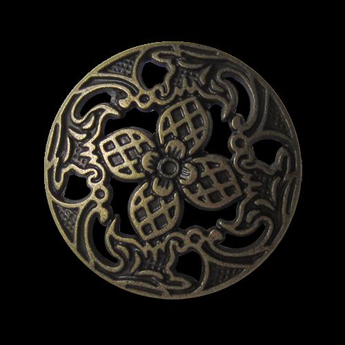 www.knopfparadies.de - 1496am - Wunderschöne Metallknöpfe mit floralem Durchbruchmuster
