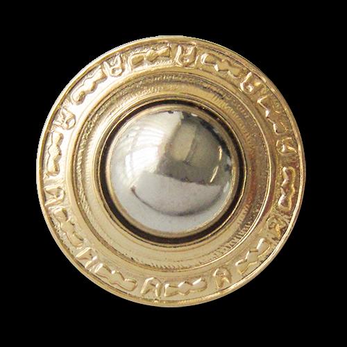 www.Knopfparadies.de - 3623gs - Bildschöne Ösenknöpfe aus Metall in gold silberner Bicoloroptik