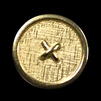 Goldfarbener Metallknopf mit Textilstruktur