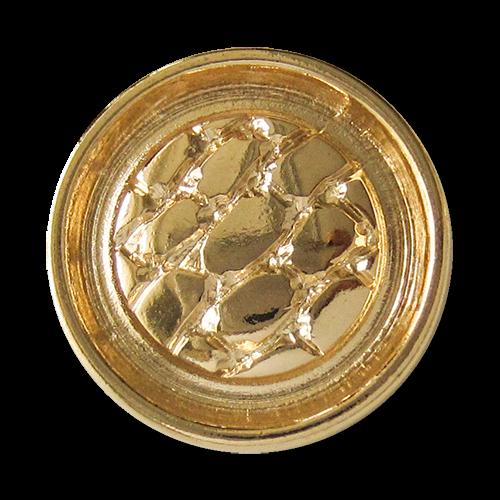 www.Knopfparadies.de - 3129go - Mondäne goldene Metallknöpfe mit Reptilien Muster