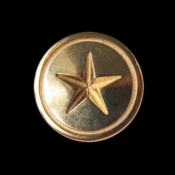 Klassischer goldfarb. Metall Knopf mit Relief Stern