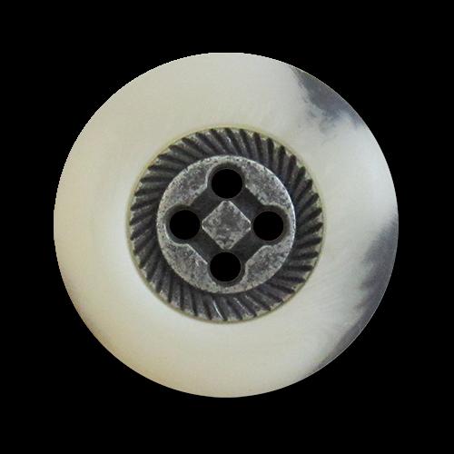 www.knopfparadies.de - 1014ws - Trachtige Vierlochknöpfe aus Kunststoff und Metall