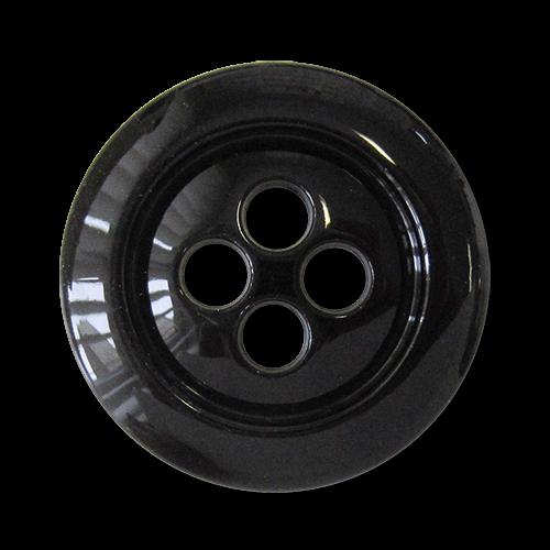www.Knopfparadies.de - 3835sc - Große schwarze Kunststoffknöpfe für Jacken & Mäntel