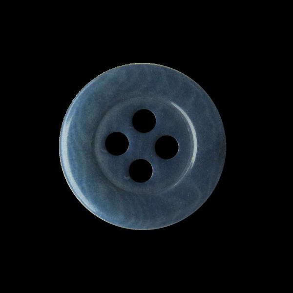 Kleiner blau gemaserter Vierloch Knopf aus Steinnuss