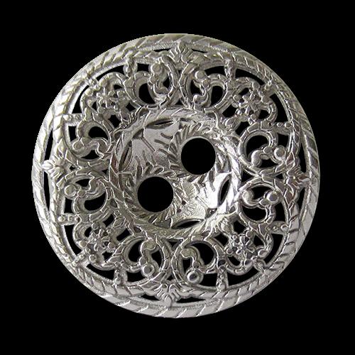 www.knopfparadies.de - 5746si - Bezaubernde Metallknöpfe in silber mit filigranem Durchbruchmuster