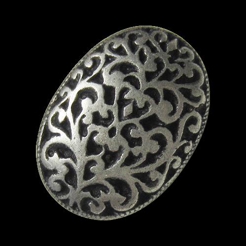 www.Knopfparadies.de - 5872as - Wundervolle ovale silberne Metallknöpfe mit Ornament Muster