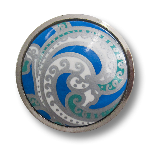 www.Knopfparadies.de - 1579bs - Elegante silberne Kunststoffknöpfe mit Paisley Motiv