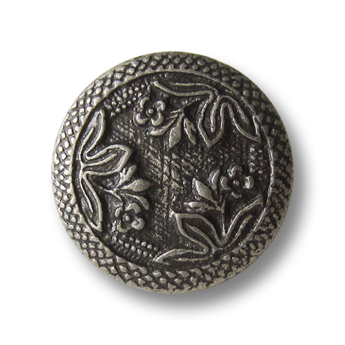 Ausgefallene altsilberfarbene Ösen Metallknöpfe mit Blumen Motiv