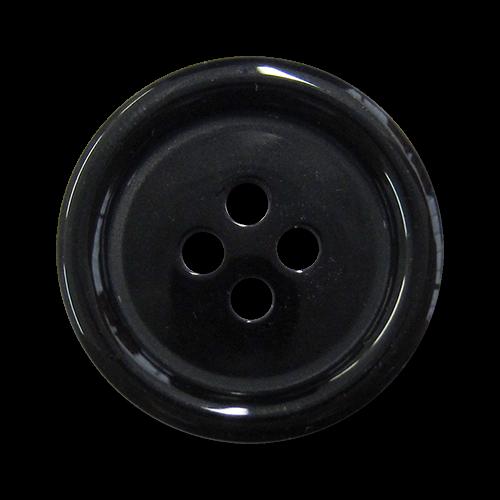 www.knopfparadies.de - 1526sc - Klassische Vierloch Kunststoffknöpfe in glänzend schwarz