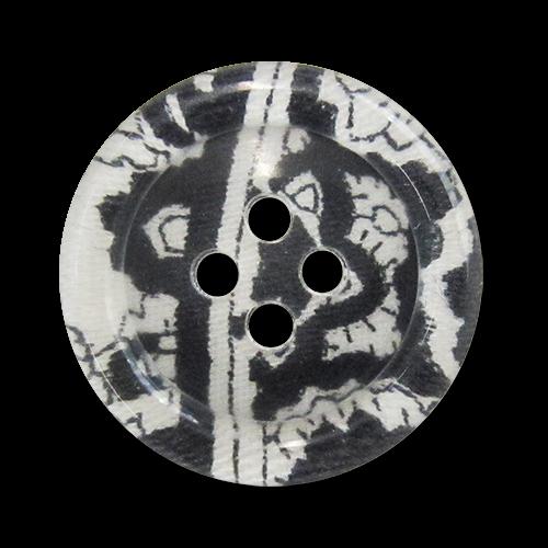 www.Knopfparadies.de - 0702fl - Aparte Vierlochknöpfe aus Kunststoff in Schwarz & Weiß