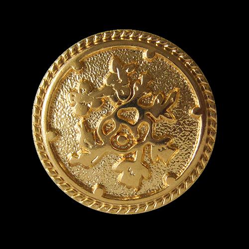 www.Knopfparadies.de - 0576go - Goldene Metallknöpfe mit Blumen Muster
