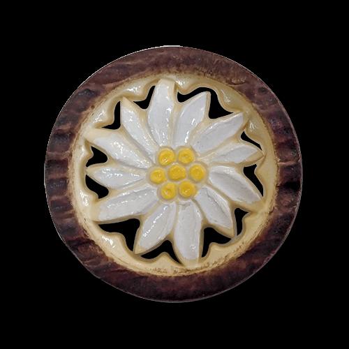 www.knopfparadies.de - 6010db - Detaillierte Trachtenknöpfe aus Kunststoff mit Motiv: Edelweiß