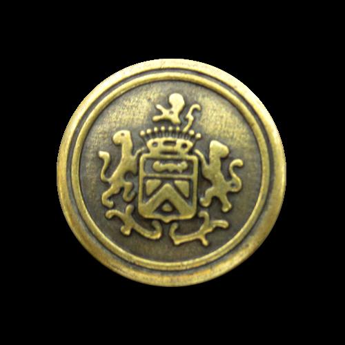 Altmessingfarb. Blazer Metall Knopf mit Wappen & Löwen