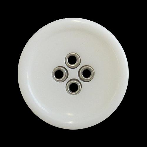 www.knopfparadies.de - 5981ws - Weiße Kunststoffknöpfe mit silberfarbenen Löchern