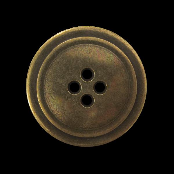Klassischer altmessingfarbener Vierloch Metall Knopf