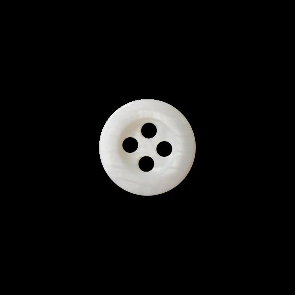Kleiner weißer Vierloch Knopf aus Süßwasser Perlmutt