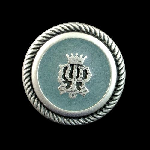Edle Blazerknöpfe mit Wappen und Krone in matt altsilber und petrol