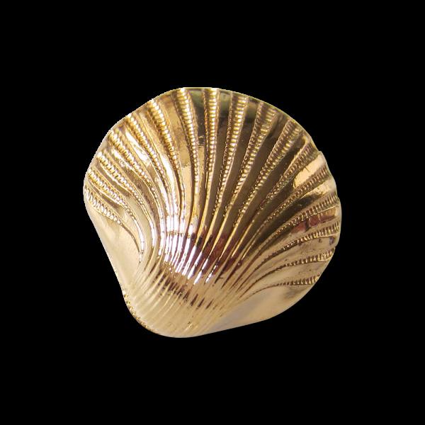 Glänzend goldfarbener Ösen Knopf in Muschel Form