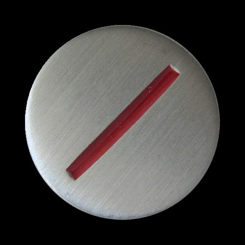www.Knopfparadies.de - 5328sr - Moderne Metallknöpfe mit rotem Strich