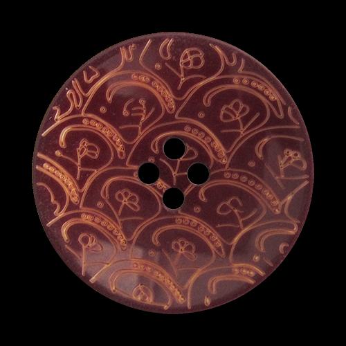 www.Knopfparadies.de - 1669br - Wunderschöne braun gemusterte Vierloch Kunststoffknöpfe