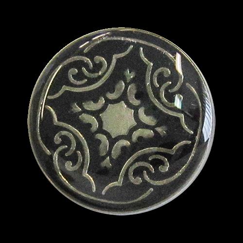 www.knopfparadies.de - 3277sc - Schwarz-silberne Metallknöpfe mit nostalgischem Muster