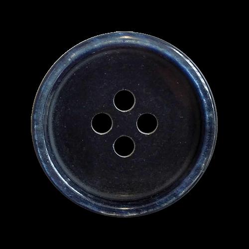 www.knopfparadies.de - 6025bl - Schwarze Kunststoffknöpfe mit blau schimmerndem Rand