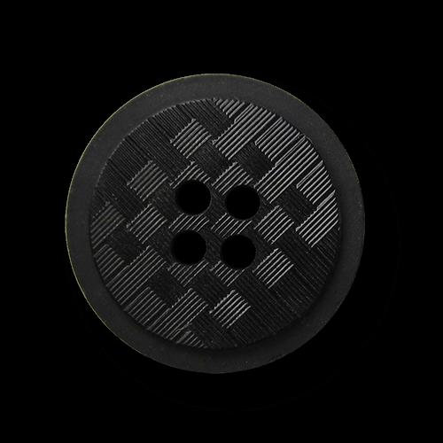 Edler schwarzer Vierloch Knopf mit Schachbrett Muster