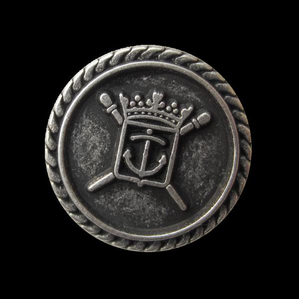Wappen Metall Ösen Knopf mit Anker & Krone in Altsilber