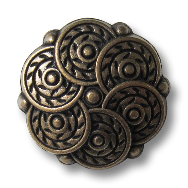 Beeindruckender Metall Ösen Knopf mit Kreis Muster