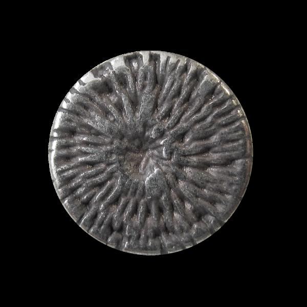 Kleiner altsilberfarbener Metall Knopf mit Web Muster