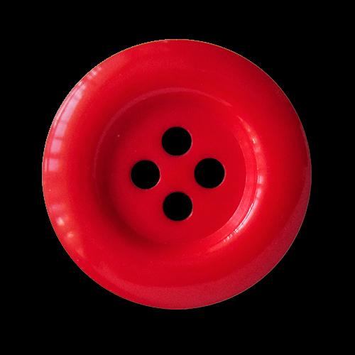 www.knopfparadies.de - 1685ro - Günstige, rote Kunststoffknöpfe mit vier Löchern