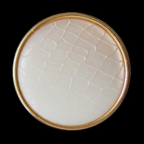 www.Knopfparadies.de - 1673pg - Goldene Metallknöpfe mit weißem Reptil Muster
