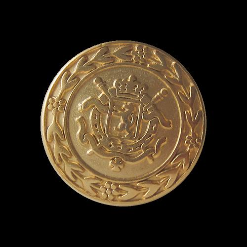 Edler Metall Ösen Knopf mit Wappen Relief in matt Goldfarben