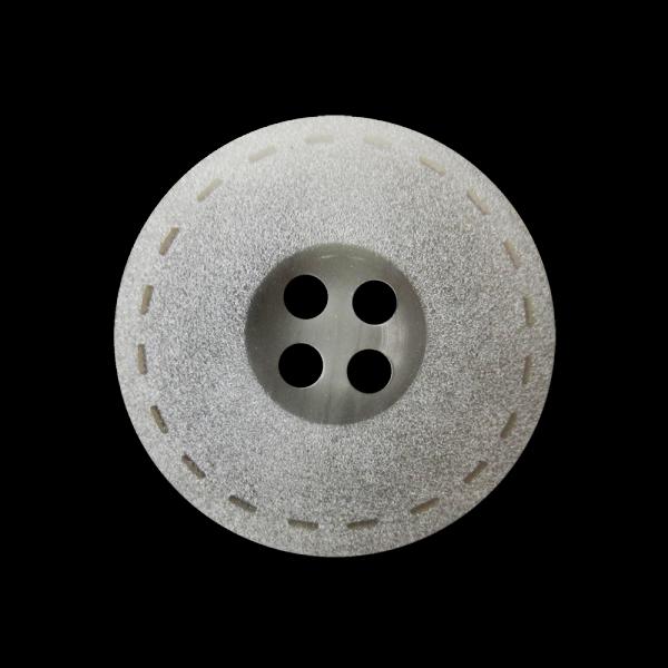 Grau mattierter Vierloch Knopf mit Steppnaht Design