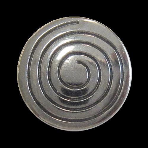 www.Knopfparadies.de - 3053ch - Auffällige Motivknöpfe mit Spirale aus Metall in Chrom