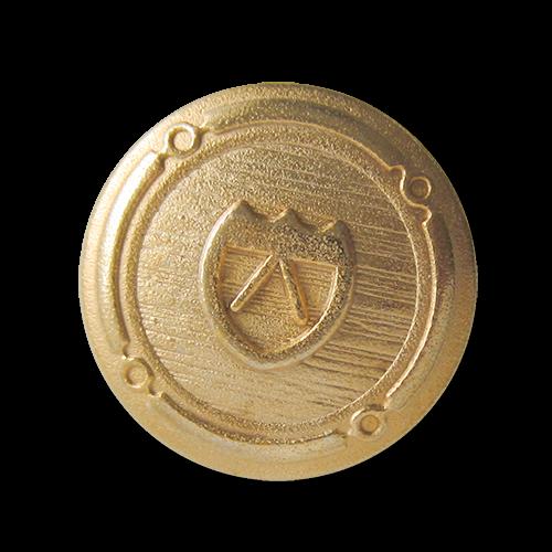 Graphischer Wappen Metall Knopf in Goldfarben